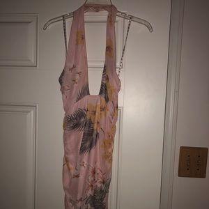 Pink floral halter dress